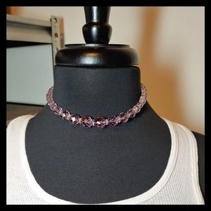 💷 Vtg. Gorgeous Amythst Crystal Bead Necklace